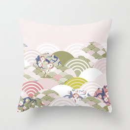 scales simple Nature background with japanese sakura flower, rosy pink Cherry, wave circle pattern Throw Pillow