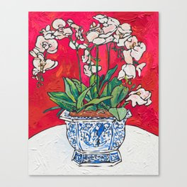 Orchid in Blue-and-white Bird Pot on Red after Matisse Canvas Print
