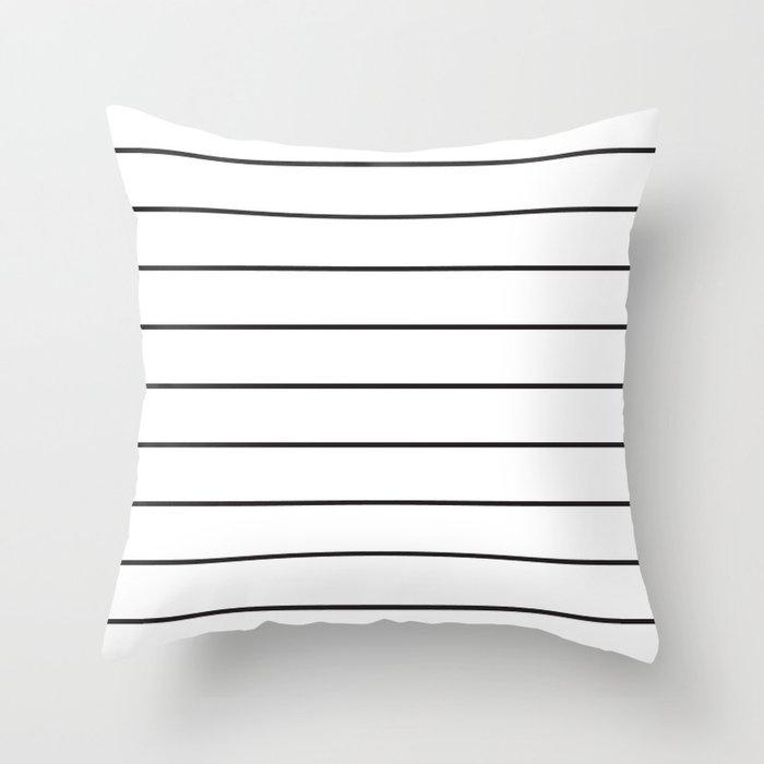 SKINNY STRIPE ((black on white)) Throw Pillow