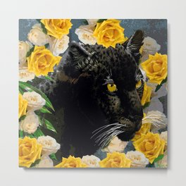 BLACK PANTHER AND YELLOW ROSES Metal Print