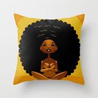 spiritual Throw Pillows featuring Spiritual AfroGirl by Pweety Sexxay