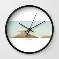 plain Wall Clocks featuring HIGH PLAIN by Ersin Aydın