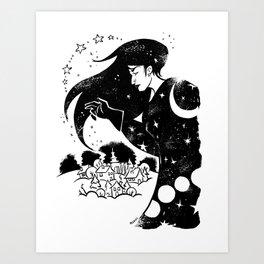 Snow and Stars Art Print