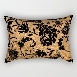 Vintage black faux gold glitter floral damask pattern Rectangular Pillow