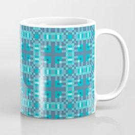 REFLECTION - bright china blue geometric squares pattern Coffee Mug