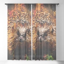hedgehog watercolor splatters Sheer Curtain