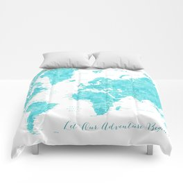Let our adventure begin aquamarine world map Comforters