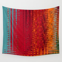 Warm red & turquoise Floor Pattern Art Wall Tapestry