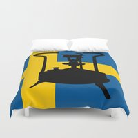 sweden Duvet Covers featuring Sweden flag | Pressure stove by mailboxdisco