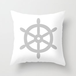 Ship Wheel (Gray & White) Throw Pillow