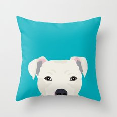 Pitbull pet portrait dog breeds pet friendly dog art unique gifts for dog lover Throw Pillow