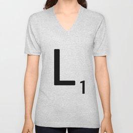 Letter L - Custom Scrabble Letter Tile Art - Scrabble L Initial Unisex V-Neck
