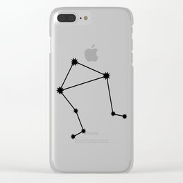 Libra Star Sign Black & White Clear iPhone Case