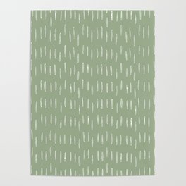 Raindrop Boho Abstract Pattern, Sage Green Poster