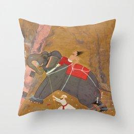 The Elephant Khanderao Bahadur Killing Sham Mahavat Throw Pillow