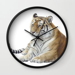 Digital Painting Of tiger portrait isolated on white background Wall Clock