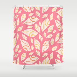 Chaotic abstract foliage in pink summer color palette Shower Curtain