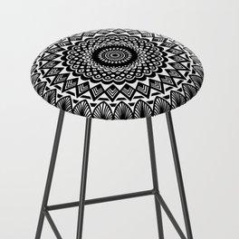 Detailed Black and White Mandala Bar Stool