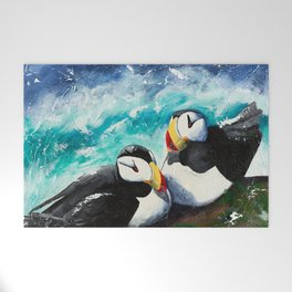 Puffins - Always together - by LiliFlore Welcome Mat