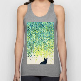 Cat in the garden under willow tree Unisex Tank Top