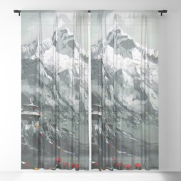 Panoramic View Of Mountain Everest Sheer Curtain