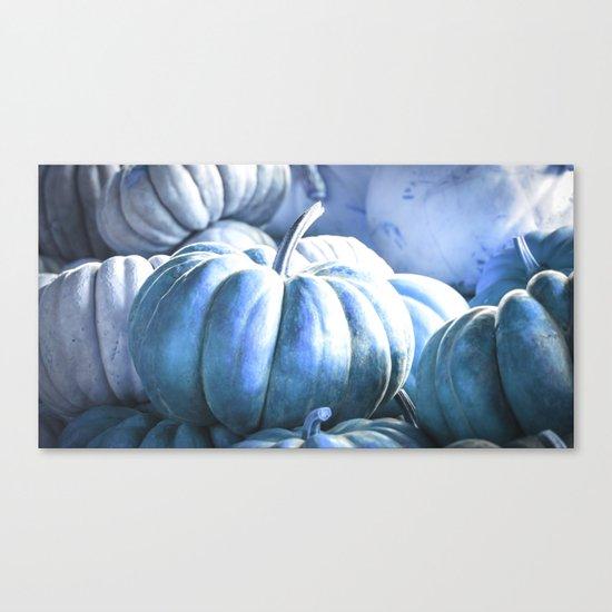 Autumn Pumpkins Blue Canvas Print