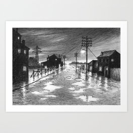 Rainy evening at the exit of the village Art Print