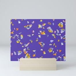 Terrazzo blue pattern hand-painted Mini Art Print