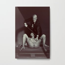 The Cane 2# Nude woman and her master Metal Print