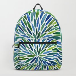 Watercolor Burst – Blue & Green Backpack