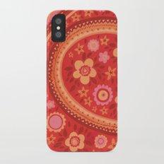 Bright Red Flowers Slim Case iPhone X