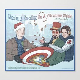 Superheroic Seasons Greetings (Chestnuts Roasting) Canvas Print