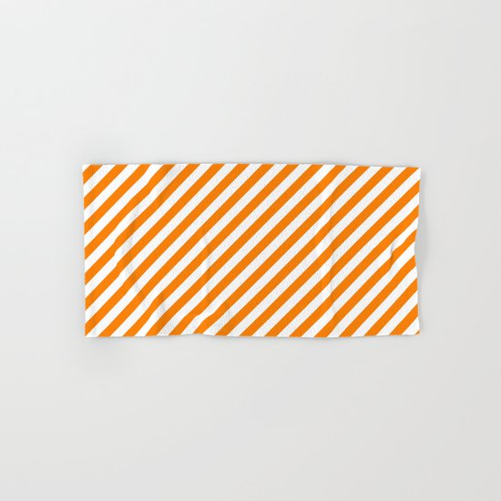 Diagonal Stripes (Orange/White) Hand & Bath Towel