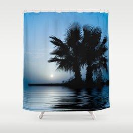 Blue Tropical Sunrise Shower Curtain