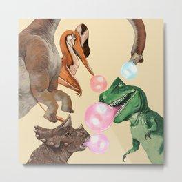 Playful Dinosaur Bubble Gum Gang Metal Print