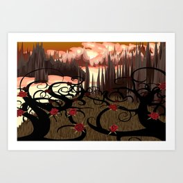 BlueSuburbia - Rosebushes Art Print