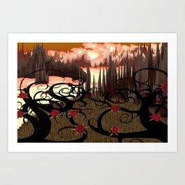 BlueSuburbia - Rosebushes Art Print