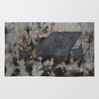 black and gold Area & Throw Rugs featuring Black Gold by ALLGOLD Creative