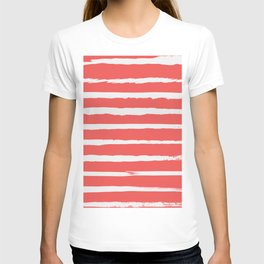 Irregular Hand Painted Stripes Coral Red T-shirt