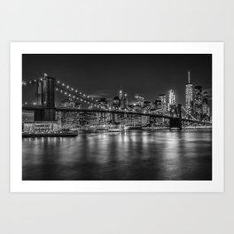 MANHATTAN SKYLINE & BROOKLYN BRIDGE Nightly Impressions   Monochrome Art Print