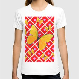 Yellow Butterflies on Red Patterned Art T-shirt