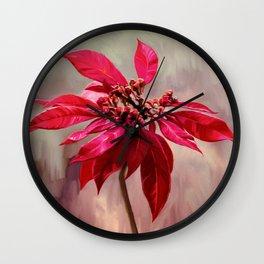 Poinsettia Painting Wall Clock