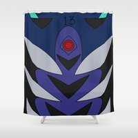 evangelion Shower Curtains featuring Shinji Rebuild Plugsuit  by Bunny Frost