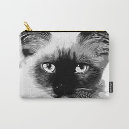 holy birma cat blue eyes vector art black white Carry-All Pouch