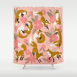 Foxes & Blooms – Pink & Caramel Shower Curtain