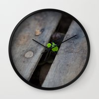 clover Wall Clocks featuring Clover by Dimind