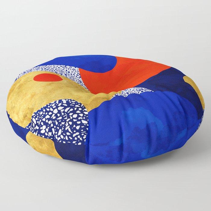 Terrazzo galaxy blue night yellow gold orange Floor Pillow