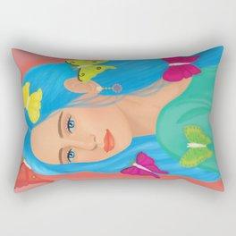 Blue haired girl Rectangular Pillow