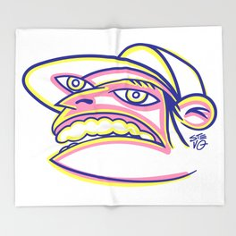 Skateboard Kid with Big Mouth and Crazy Eyes, Wearing Trucker Hat Throw Blanket