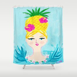 Pineapple Girl Shower Curtain